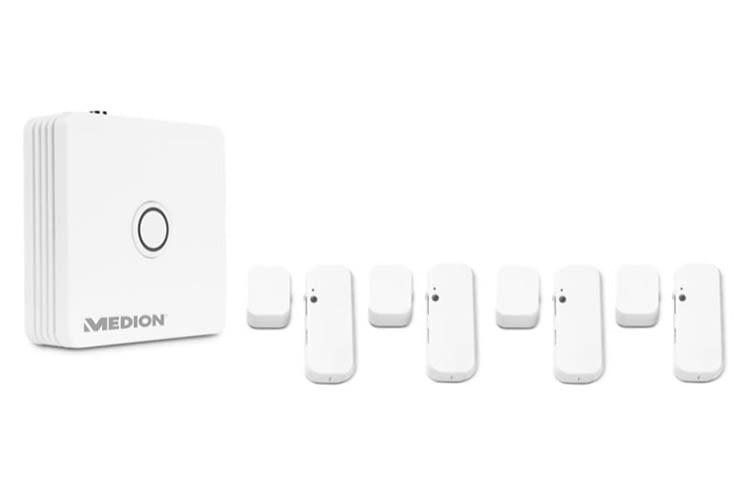 MEDION Smart Home Sicherheits-Bundle, bestehend aus einer Smart Home Zentrale und je vier Tür- und Fensterkontakten