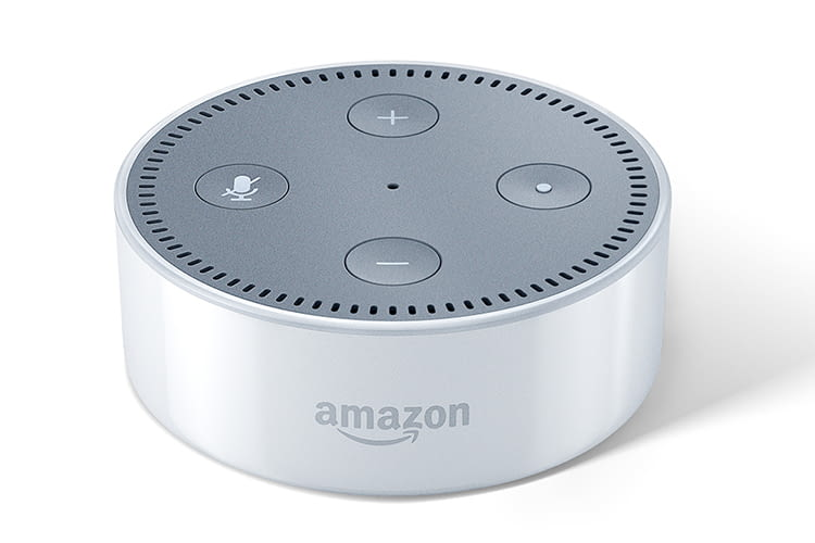 Amazon Echo Dot hat im Vergleich zum Echo oder Echo Plus keinen Drehring zum Steuern, sondern nur Bedienknöpfe