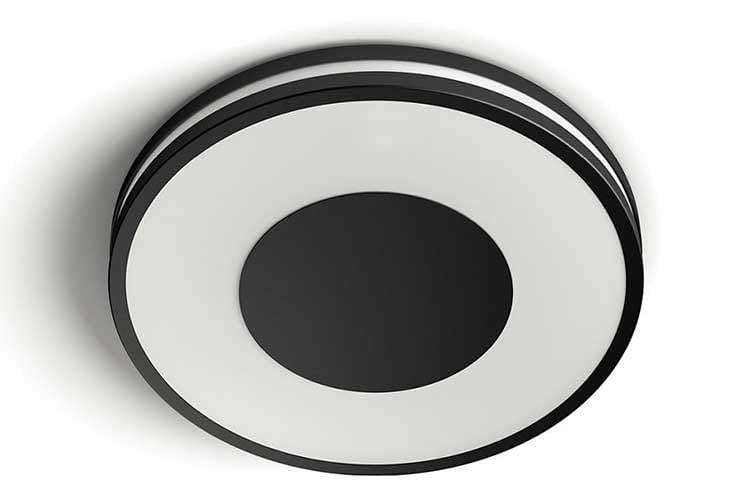 Die Philips Hue White Ambiance Deckenleuchte gibt es in der Farbe Schwarz, Weiß oder grau
