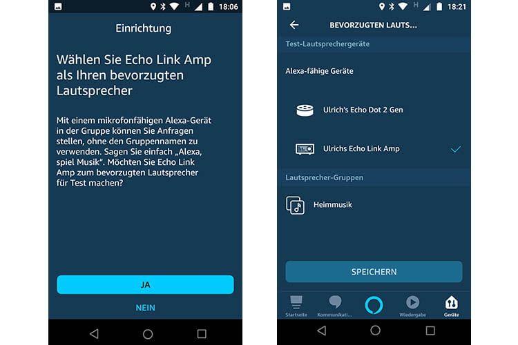 Einmal als bevorzugter Lautsprecher ausgewählt, leitet Alexa die Audio-Ausgabe an Echo Link Amp weiter