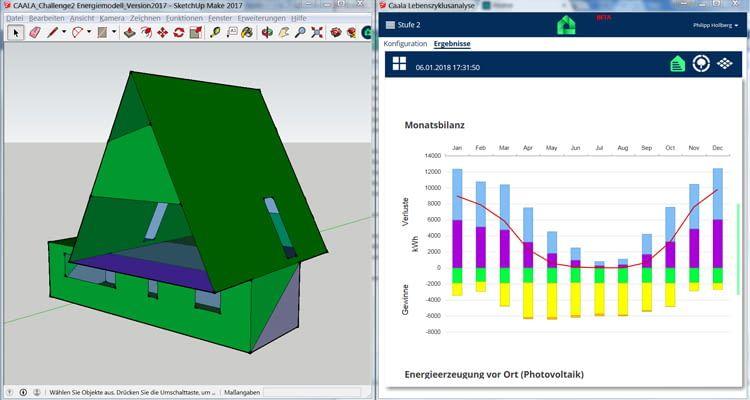 Nachhaltige Energieplanung im Architekturbüro: Die Monatsbilanz des entworfenen Modells