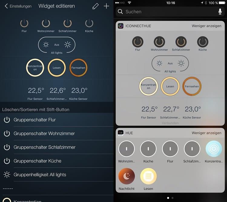 Im Vergleich zum Widget der Hue-App: mehr Funktionsumfang und Übersichtlichkeit