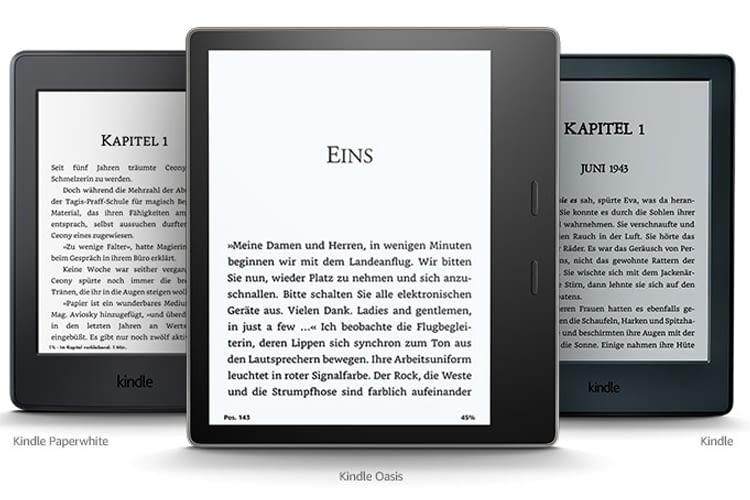 eReader Kindle, Kindle Paperwhite und Kindle Oasis im Vergleich