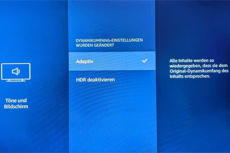 """Für die Filmwiedergabe mit HDR muss in den Amazon Fire TV Stick Einstellungen die Option """"Adaptiv"""" aktiviert sein"""