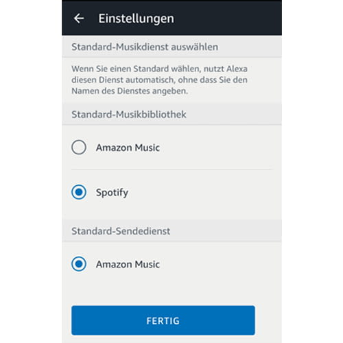 Für kürzere Sprachbefehle: Spotify in der Alexa-App als Standard-Musikdienst festlegen