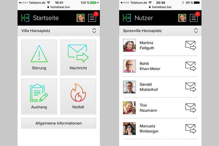 Di HomeBeat.Live App bietet eine Störungs- und Notfallverwaltung sowie Community-Funktionen