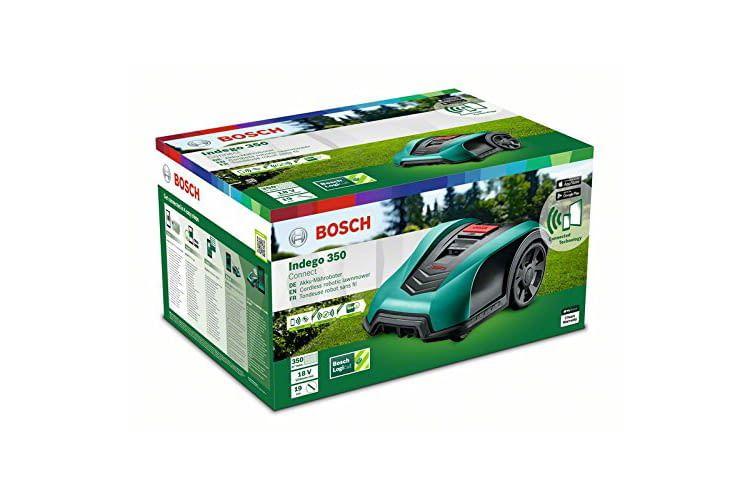 Der Bosch Mähroboter Indego 350 Connect fährt automatisch zur Ladestation zurück