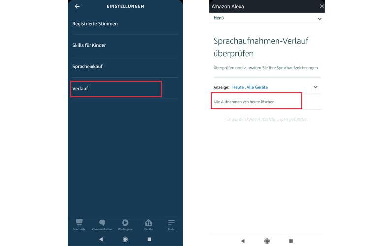 Sprachverläufe können über die Alexa App in wenigen Schritten gelöscht werden
