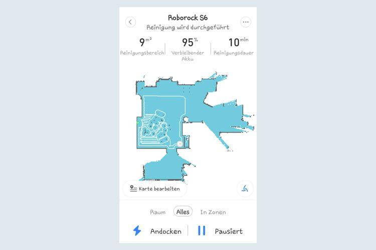 Per App lässt sich nachvollziehen wie lange der Roboter wo putzt