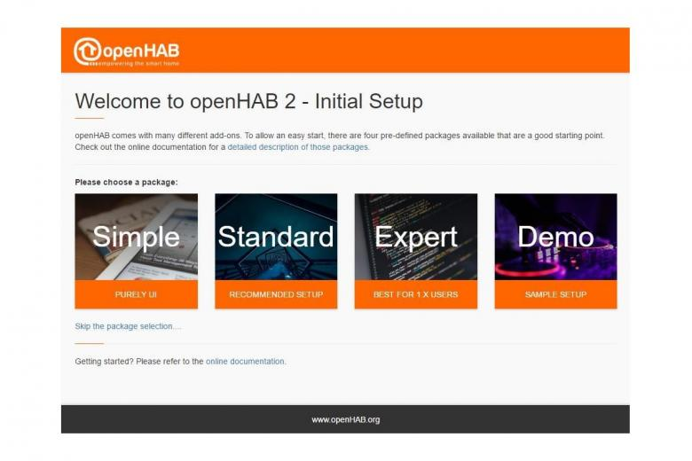 Das openHAB Installation und Setup Menü als UI