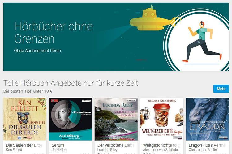 Im Google Play Bücher Shop verkauft Google jetzt auch Hörbücher - ohne Aboverpflichtung