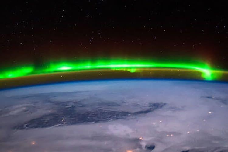 Die Aurora Borealis von der ISS aus betrachtet