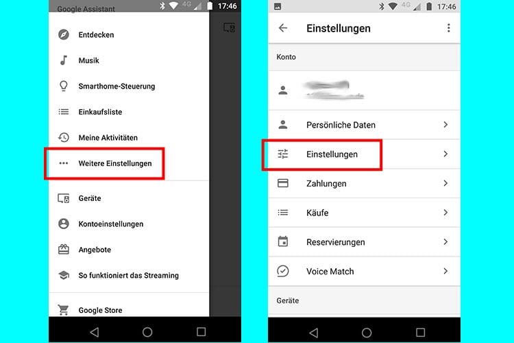 """Über """"Weitere Einstellungen"""" und dann """"Einstellungen"""" in der Google Home-App zur Sprachauswahl navigieren"""