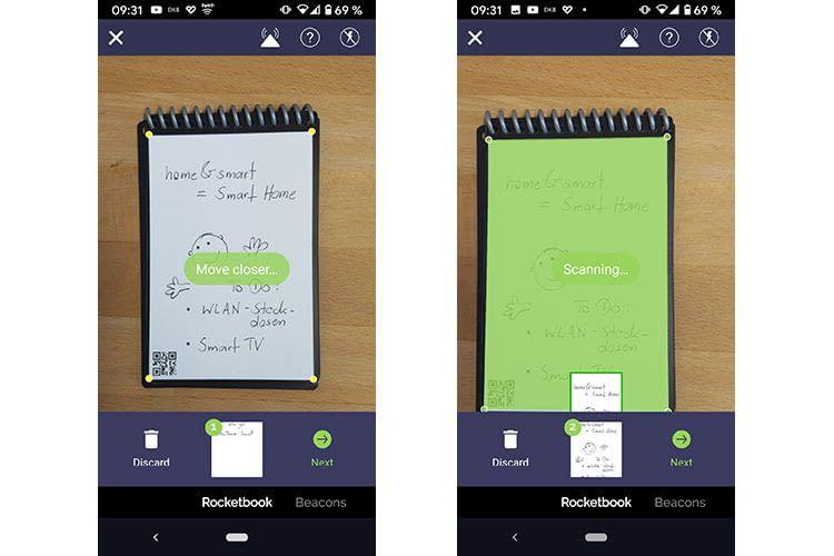 Die Rocketbook App scannt die Seite automatisch ein und wandelt diese auf Wunsch in ein PDF um