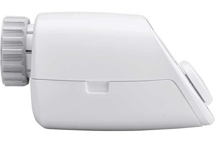 Das Eqiva Bluetooth-Thermostat in der Seitenansicht