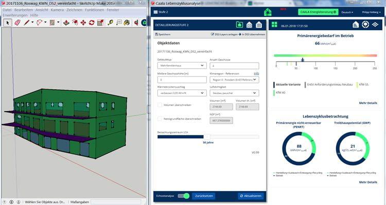 Das CAD-Modell samt entsprechendem Energiebedarf wird sekundenschnell berechnet