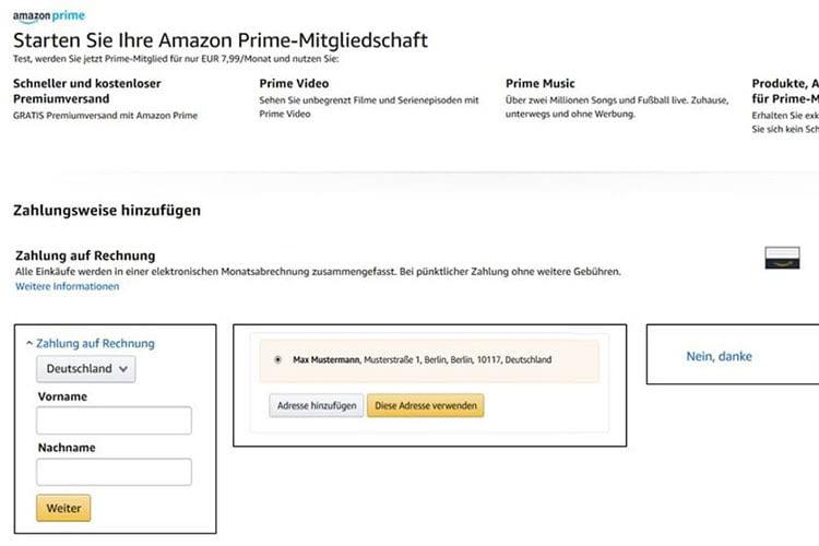 In den Kontoeinstellungen von Amazon Prime können Kunden die gewünschte Zahlungsart auswählen