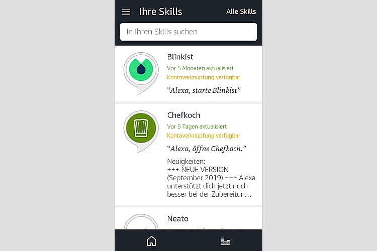Alle bereits aktivierten Skills sind in der Alexa App einsehbar