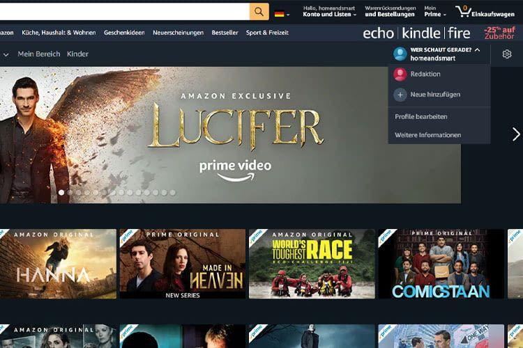 Im Test haben wir Amazon Prime Video Nutzerprofile über den Webbrowser angelegt