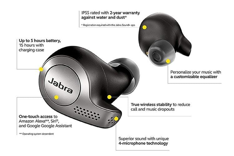 Die In-Ear-Bluetooth-Kopfhörer Jabra Elite 65t bieten einige technische Finessen