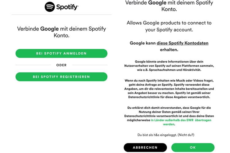 Google Home funktioniert mit Spotify Free und Spotify Premium