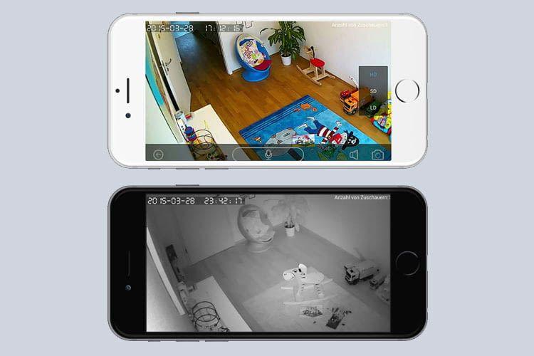 Die App streamt Live-Bilder bei Bedarf auch direkt aufs Handy