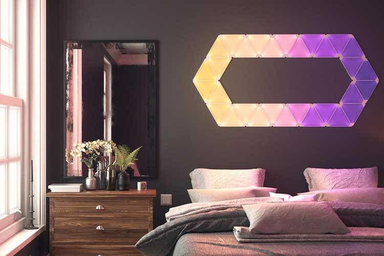 Auch im Schlafzimmer machen die Nanoleaf Light Panels Rhythm eine gute Figur