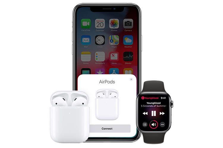 Apples AirPods 2 werden von anderen Geräten automatisch erkannt. Der Nutzer muss nur den Connect-Knopf drücken