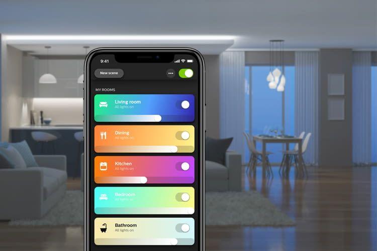 Per App können Philips Hue Nutzer bequem auf alle vernetzten Leuchtmittel zugreifen
