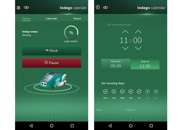 Der Mähroboter Bosch Indego 350 Connect lässt sich bequem per Smartphone App programmieren