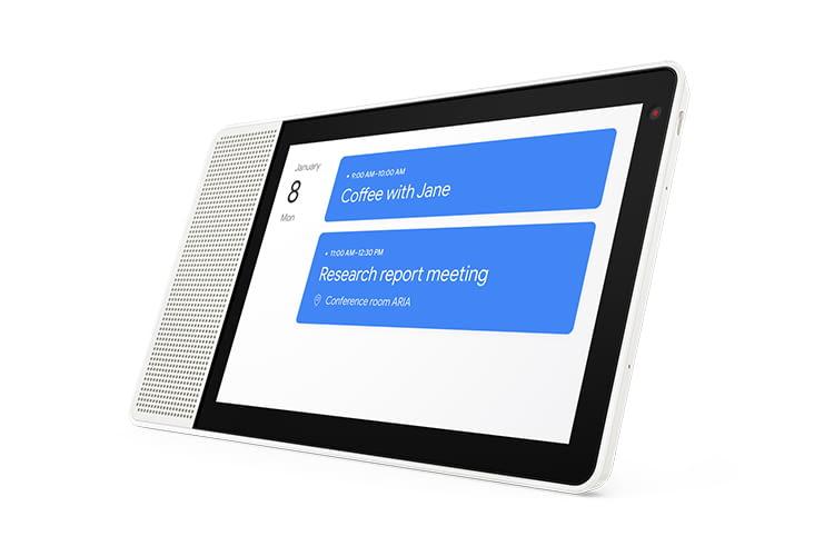 Während Google Assistant die Kalendertermine vorliest, kann sie das Lenovo Smart Display auch anzeigen