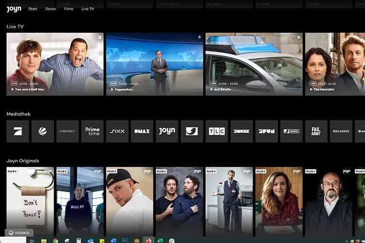 Die von Joyn Plus+ unterstützten Mediatheken sind als kleine Kacheln zwischen Live TV und Joyn Originals versteckt