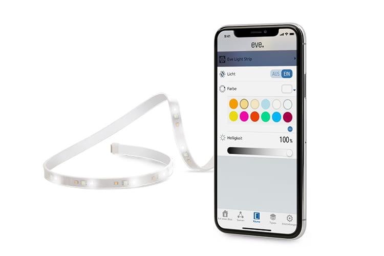 Per Smartphone lässt sich die Farbeinstellung des Eve Light Strip mit der Eve-App ganz einfach vornehmen