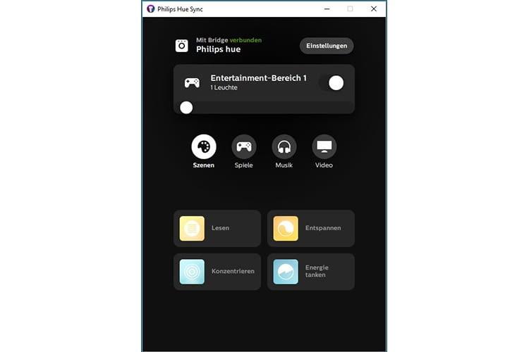 Die Philips Hue Sync App ist selbsterklärend und leicht zu bedienen