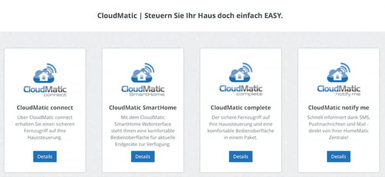 CloudMatic Pakete - connect, SmartHome, complete und notify me