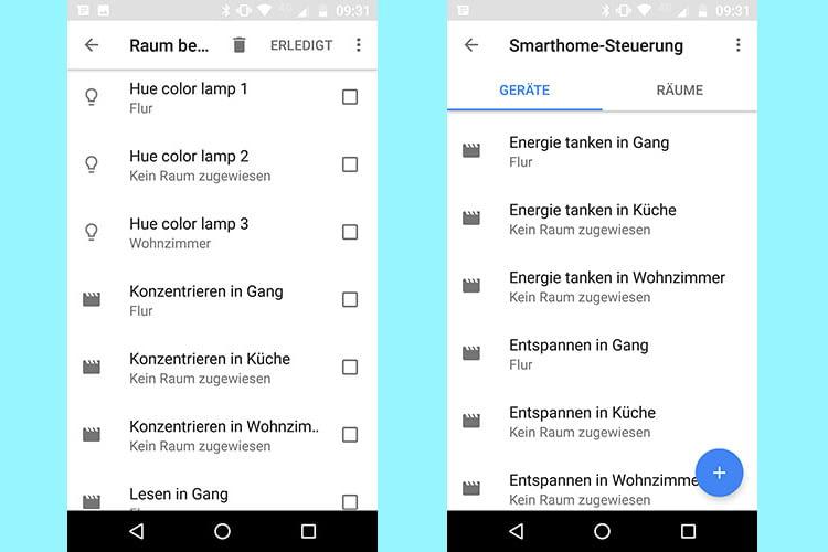 Im Menüpunkt Smarthome-Steuerung der Google Home App können die Philips Hue Lichtszenen eingerichtet werden