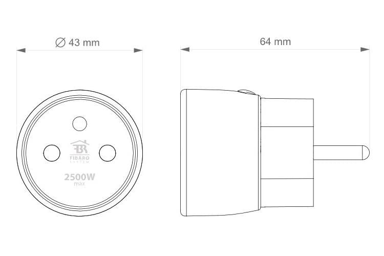 Der Zwischenstecker FIBARO Wall Plug benötigt mit 64 mm Platz in der Steckdose