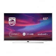 65 Zoll 4K UHD Fernseher mit 3-seitiger Ambilight Kinoatmosphäre. Inkl. Dolby Vision Atmos und KI-Sprachsteuerung.
