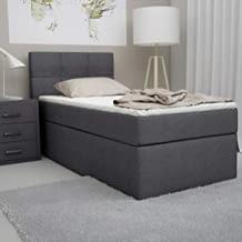 Designer-Boxspringbett inkl. Visco-Topper in Single-Bett-Ausführung (90x200 cm ) in Härtegrad H2