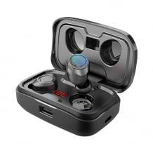Wasserdichte Wireless Kopfhörer mit 8D-Stereo-Sound und kabelloser Aufladebox mit digitaler Anzeige.