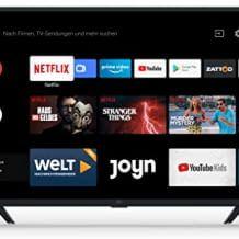HD LED Smart TV mit Triple Tuner und Fernbedienung mit Mikrofon, sowie Google Assistant.