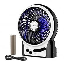 Kompakter Ventilator mit 2600 mAh wiederaufladbarem Akku, LED Licht und 3 Geschwindigkeitsstufen