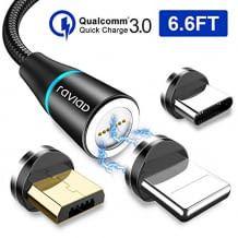 Magnetisches Schnellladekabel mit Micro USB und Typ C Anschlüssen