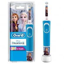 Elektrische Zahnbürste mit Eiskönigin-Motiven. Mit weichen Borsten, kleinem Bürstenkopf und Disney Magic Timer App.