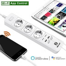 LOONFREE Wi-Fi Intelligente Steckdosenleiste, 3 Steckdosen, 4 USB-Ports