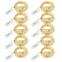 Zehn kleine batteriebetriebene LED Lichterketten aus flexiblem Kupferdraht und somit leicht zu formen.