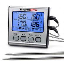 Grillthermometer mit 2 langen Edelstahl-Sonden und vielen Komfort-Funktionen wie Garzeiten oder Timer