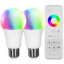 Zigbee-kompatiles Lichtsystem mit Fernbedienung und 2er LED-Lauchtmittel E27 für weißes und farbiges Licht
