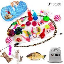 31-tlg. Set mit verschiedenen Katzenspielzeugen, einschließlich Katzentunnel, Mausspielzeug, Glocke, uvm. Keine Schadstoffe in den Materialien.