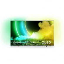 55 Zoll OLDED Smart TV mit Dolby Vision HDR und Dolby Atmos Sound sowie Ambilight-Effekt, bei dem die Bildfarben in den Raum fließen.